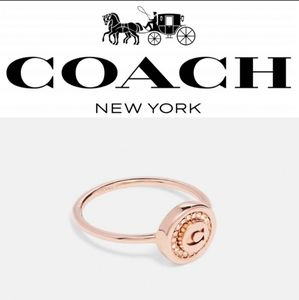 Coach Pave Pendant Ring in Rose Gold